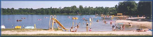 panoramic beach picture ~ Lake Lenwood Beach & Campground West Bend Wisconsin camping RV park close to Milwaukee